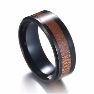 fancy fashions Accessories - Black Stainless ring wood inlay
